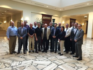 Members of STAC's steering committee meet with NATE's board of directors. The STAC delegation included Ed Hachey (SBA), Jonathan Walsh (Tiller Engineering), Keith Ranney (Bell), Sharyn Gravelle (WSP), Clay Parchewsky (WesTower) and Nick Kyonka (STAC).