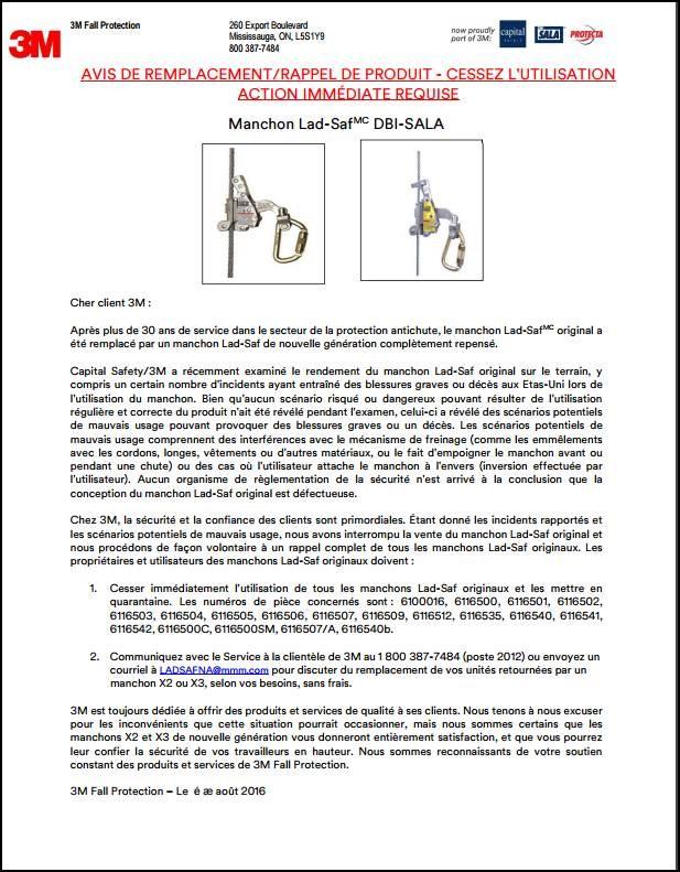 3M DBI-SALA Lad-Saf Sleeve Voluntary Recall - CN FR