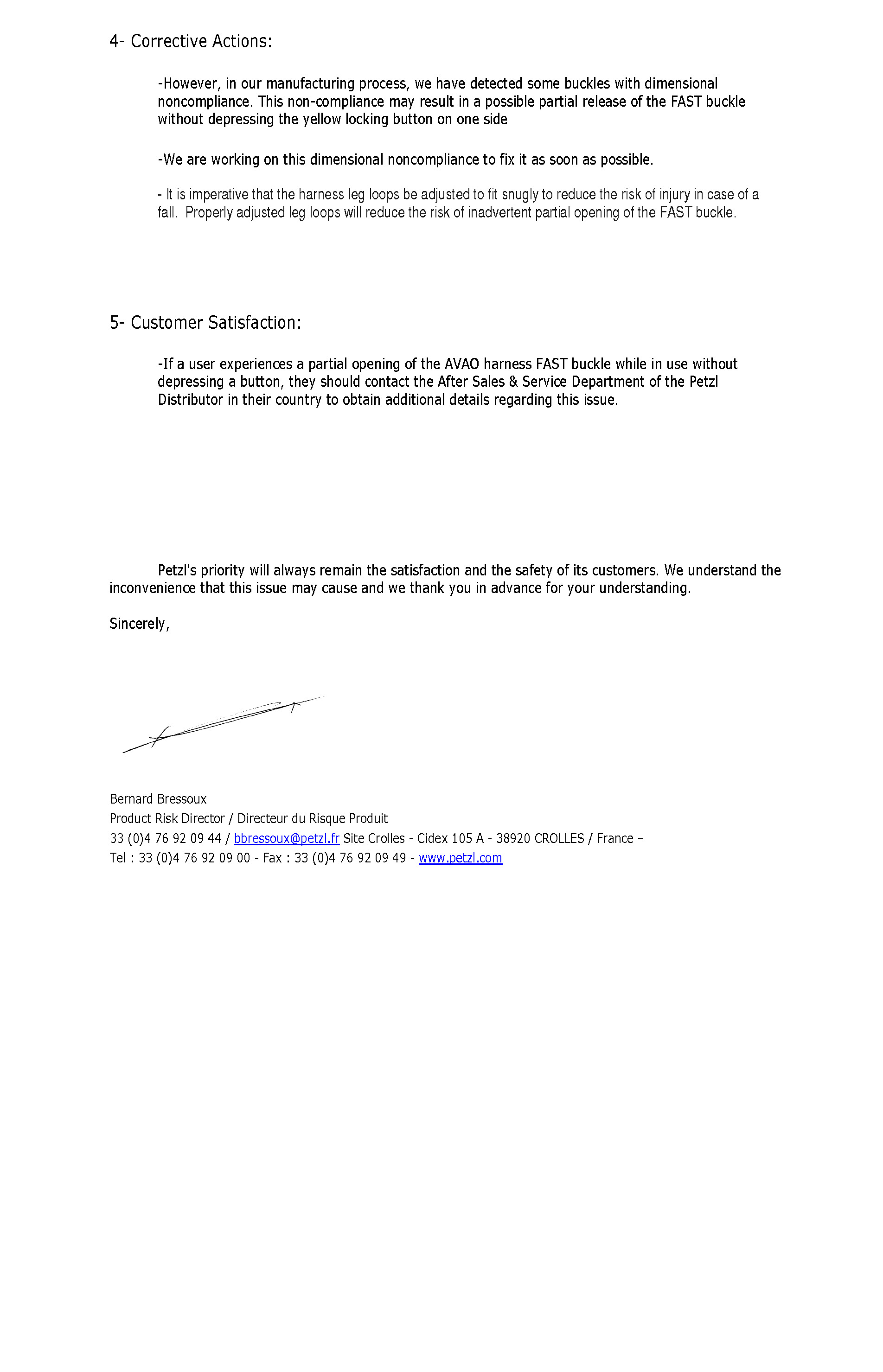 Petzl Statement Regarding AVAO BOD FAST buckle